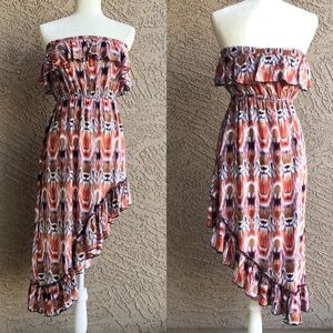 POETRY Strapless Ikat Printed Ruffle Dress
